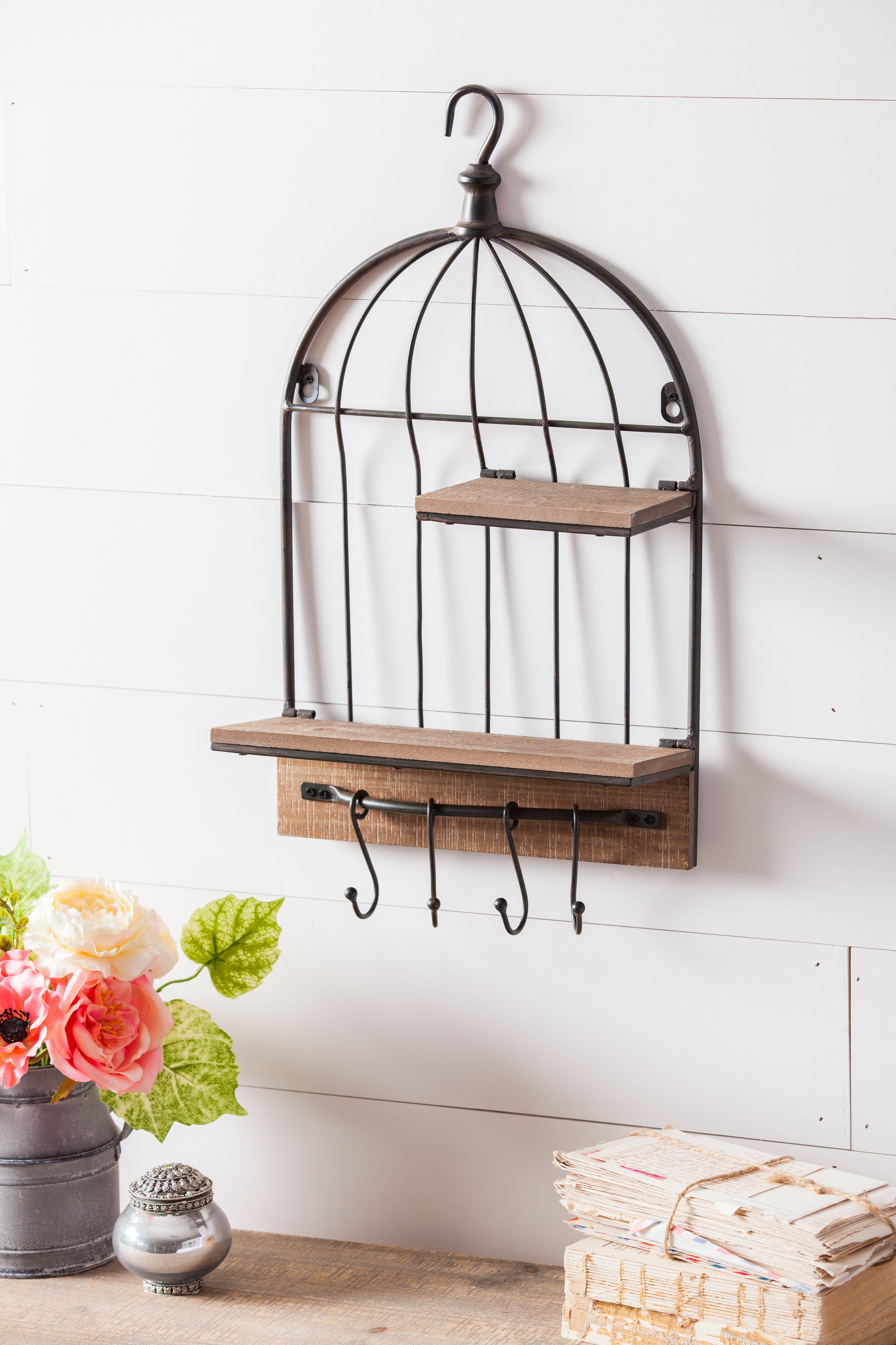 929a0acdf Ophelia   Co. Birdcage Metal Wall Décor with Wood Shelves