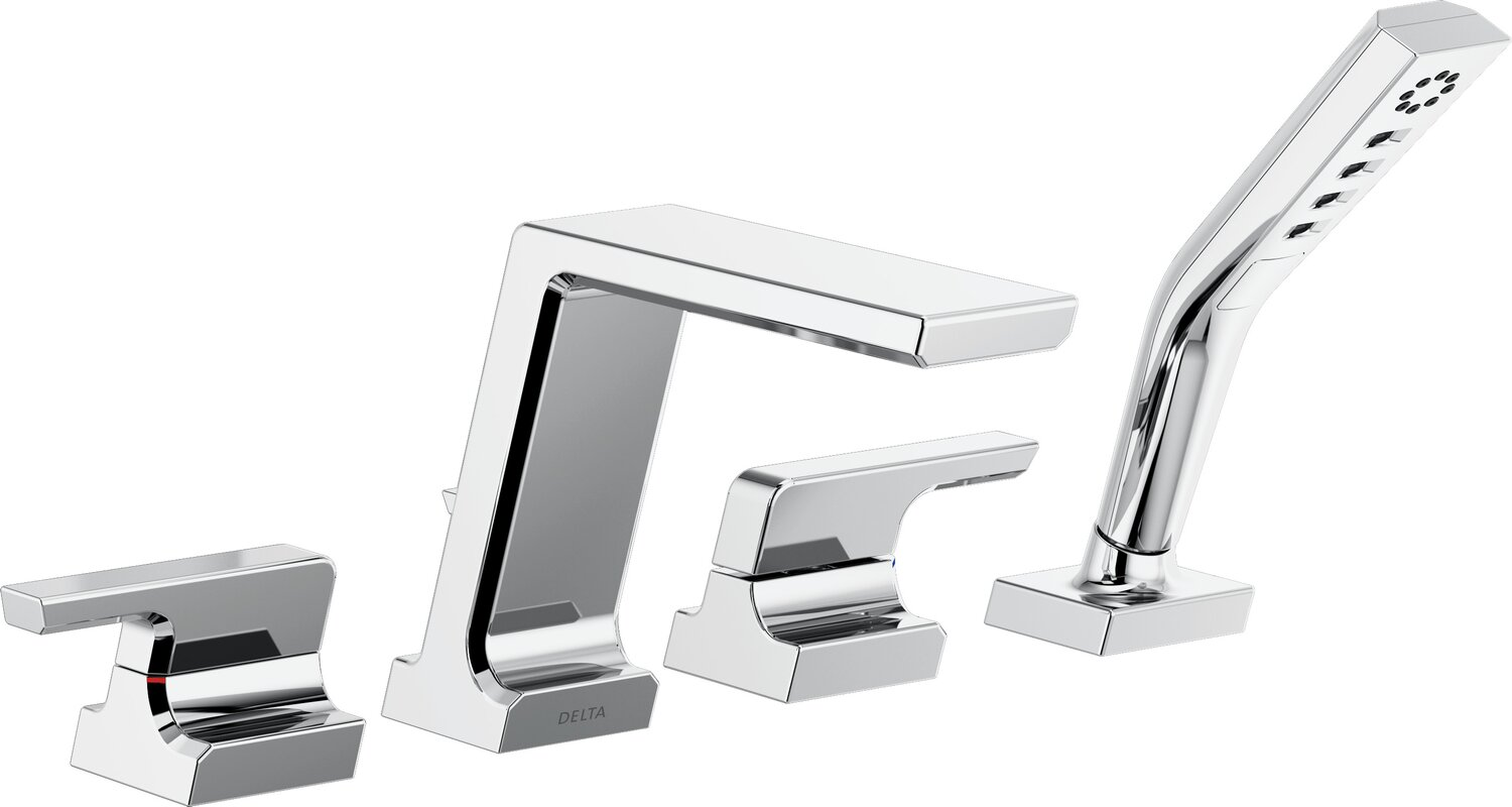 Delta Pivotal Double Handle Deck Mounted Roman Tub Faucet Trim ...