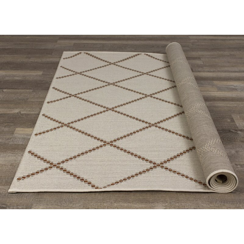 Foundry Select Finney Power Loom Cream Brown Indoor Outdoor Use Rug Wayfair
