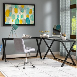 Odalis Glass L-Shape Corner Desk