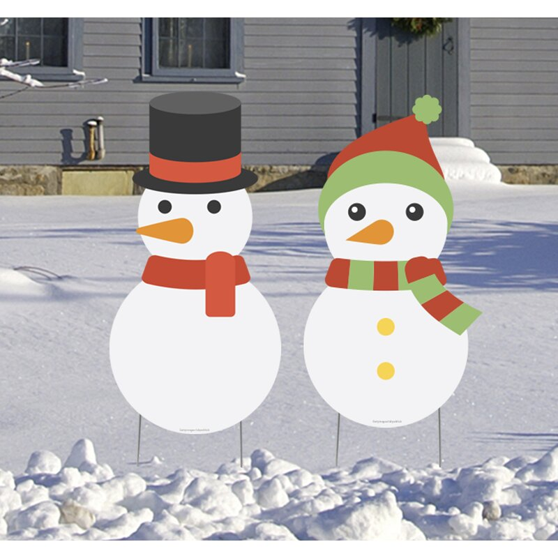 The Holiday Aisle 2 Piece Snowman Garden Stake Set Wayfair
