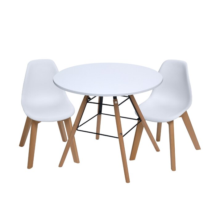 Letendre Kids 3 Piece Round Table And Chair Set