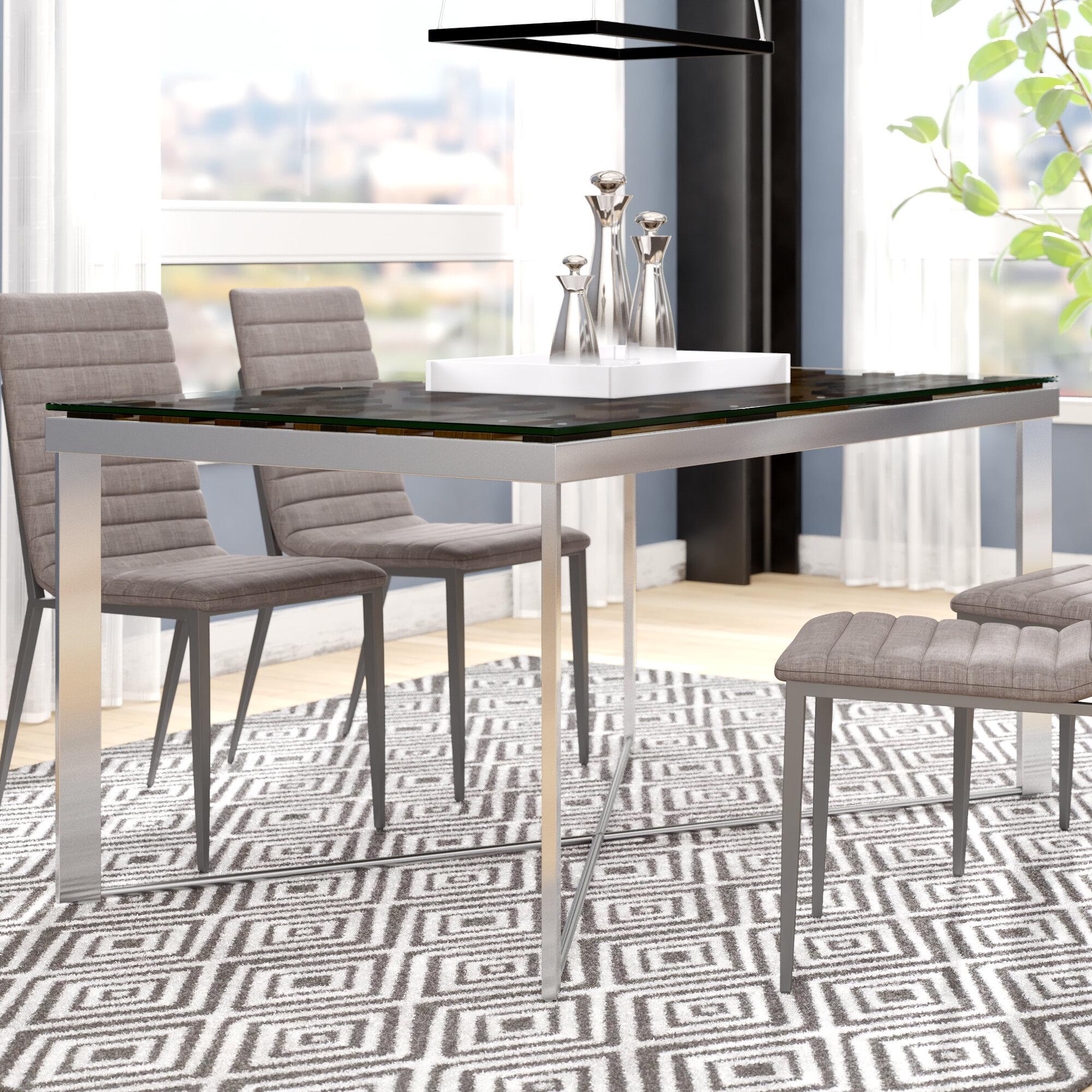 Wade Logan Marden Rectangular Wood Mosaic Dining Table Wayfair