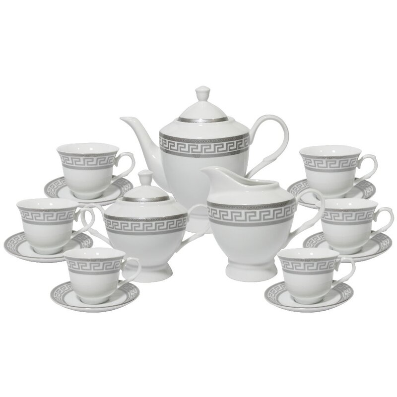 Lilesville Greek Key 17 Piece Tea Set  sc 1 st  Wayfair & Mint Pantry Lilesville Greek Key 17 Piece Tea Set u0026 Reviews | Wayfair