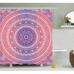 Hali Pink and Purple Vivid Ethnic Mandala Cosmos Oriental Original Transcendent Artistic Image Single Shower Curtain