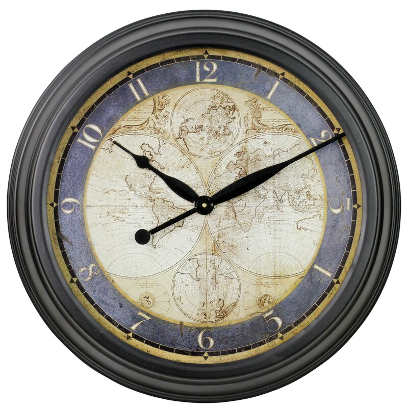 Old town clocks wayfair 23 ethan old map wall clock gumiabroncs Images