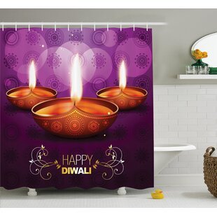 Andaluss Diwali Indian Celebration Religious Candle Burning Image and Paisley Backdrop Print Single Shower Curtain