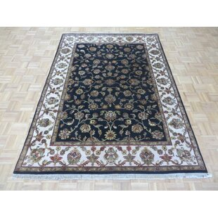 Look for One-of-a-Kind Beane Hand-Knotted Wool Black Area Rug By Isabelline