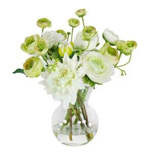 Dahlias and Ranunculus in Glass Vase