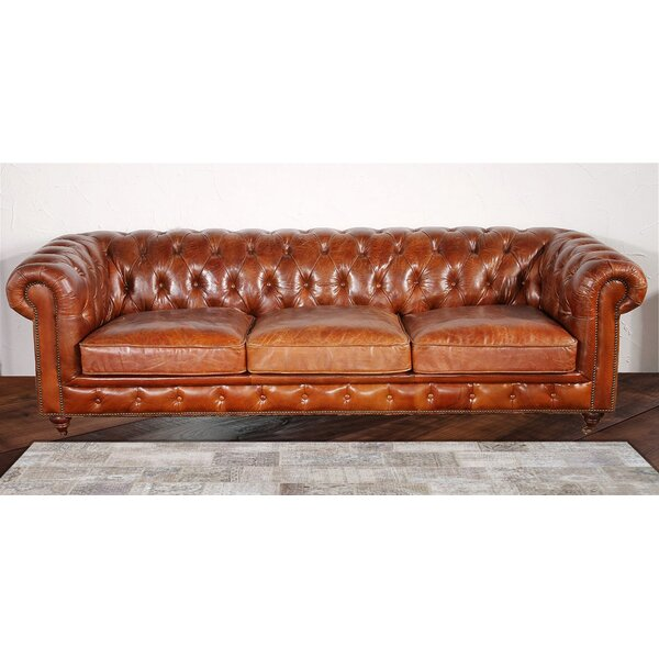 Pasargad Chester Bay Tufted Genuine Leather Chesterfield Sofa U0026 Reviews |  Wayfair