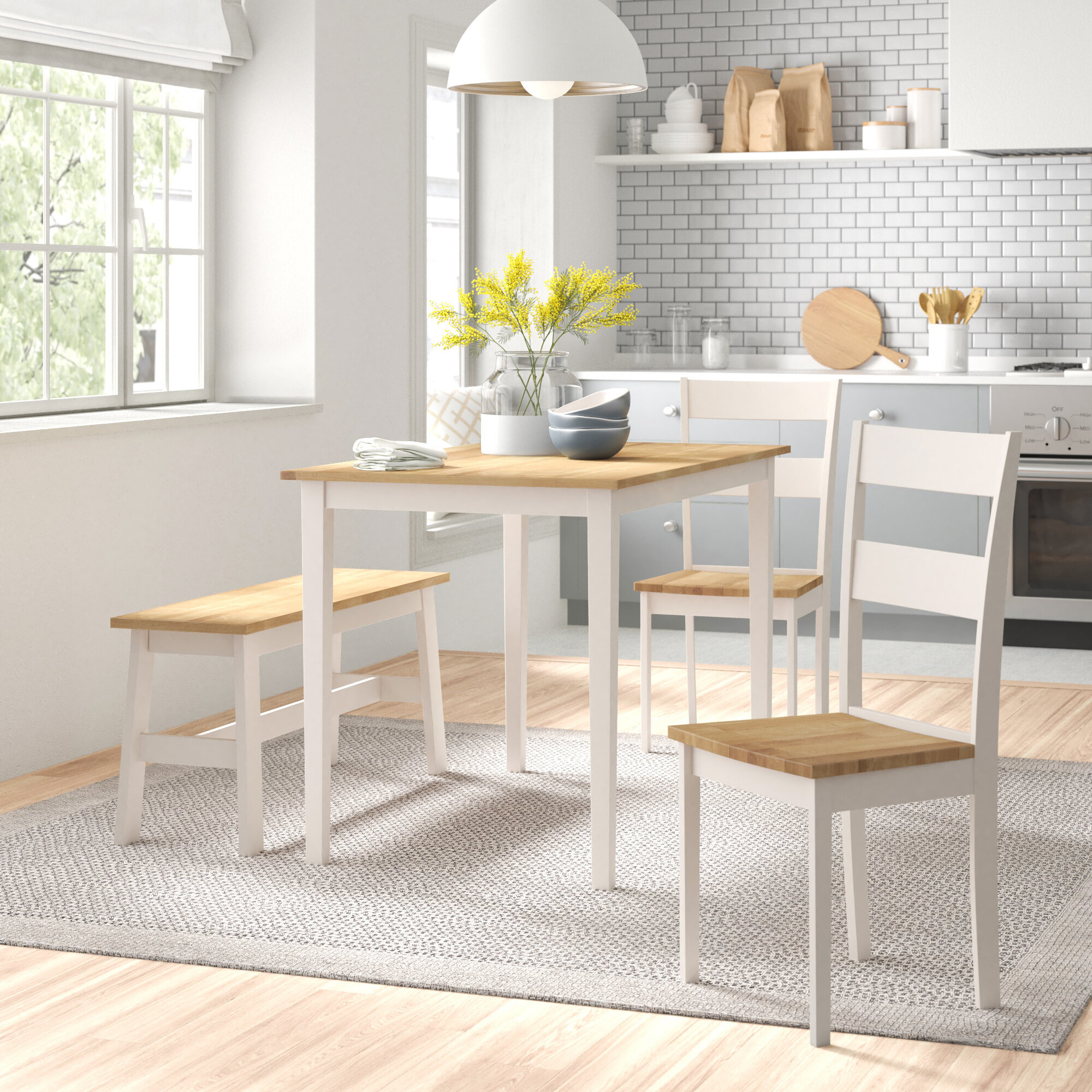 August Grove Troutville Dining Set With 2 Chairs And One Bench Reviews Wayfair Co Uk