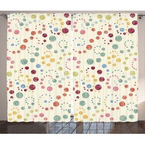 Polka Dots Decor Abstract Room Darkening Rod Pocket Curtain Panels