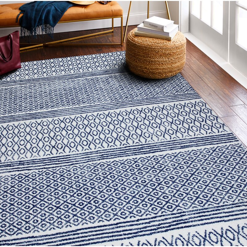 World Menagerie Chupp Geometric Ivory Blue Area Rug Reviews Wayfair