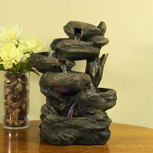 Resin Staggered Rock Falls Tabletop Fountain With Light