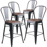 Burney Solid Wood Counter & Bar Stool (Set of 4) by 17 Stories