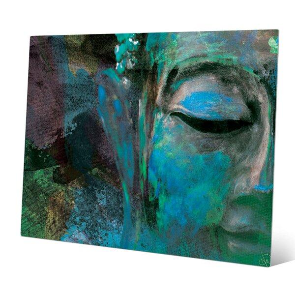 Bloomsbury Market Turquoise Painted Buddha S Face Graphic Art Print Wayfair