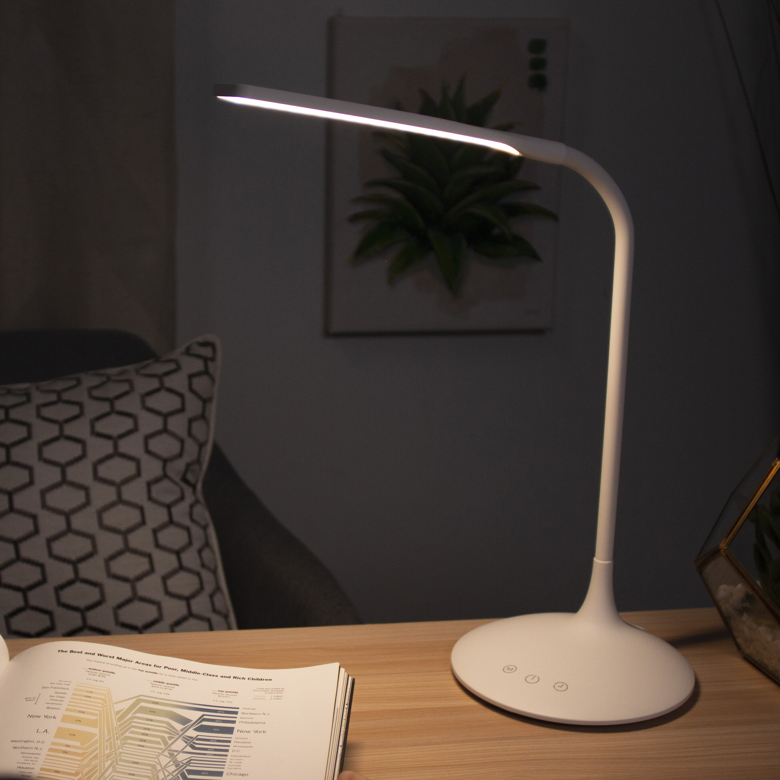 USB LED Light Touch Switch Bright Table Desk Lamp Flexible Neck Adjustable Angle