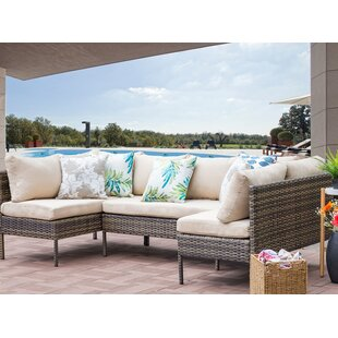 Ontonagon Outdoor Rattan 3 Piece Sectional Seating Group with Cushions