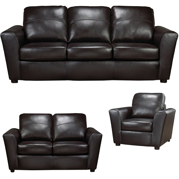 Lidiya 3 Piece Leather Living Room Set
