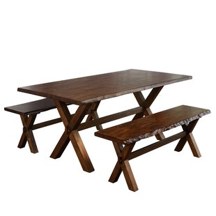Tiggs 3 Piece Solid Wood Dining Set Millwood Pines