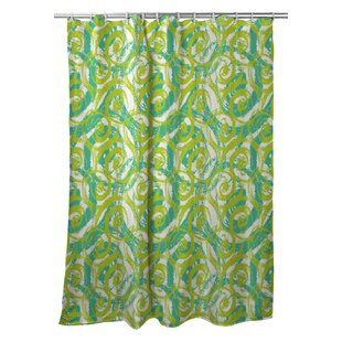 Modern Swirls Lime Single Shower Curtain