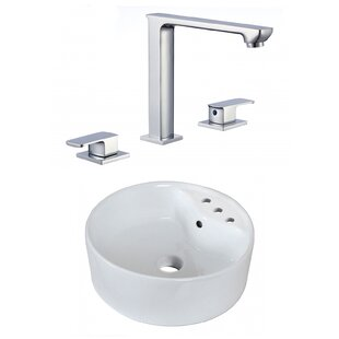 Best Reviews Ceramic Circular Vessel Bathroom Sink with Faucet and Overflow By American Imaginations
