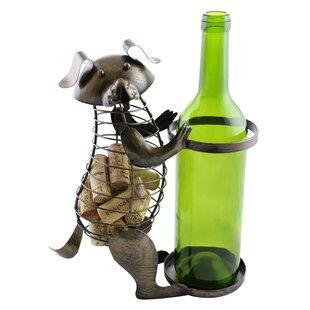 Check Out Arlinda Metal Dog Cork 1 Bottle Tabletop Wine Rack Look & reviews