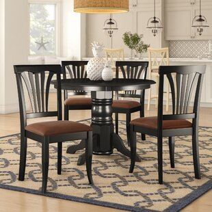 Langwater Traditional 5 Piece Pedestal Dining Set Beachcrest Home