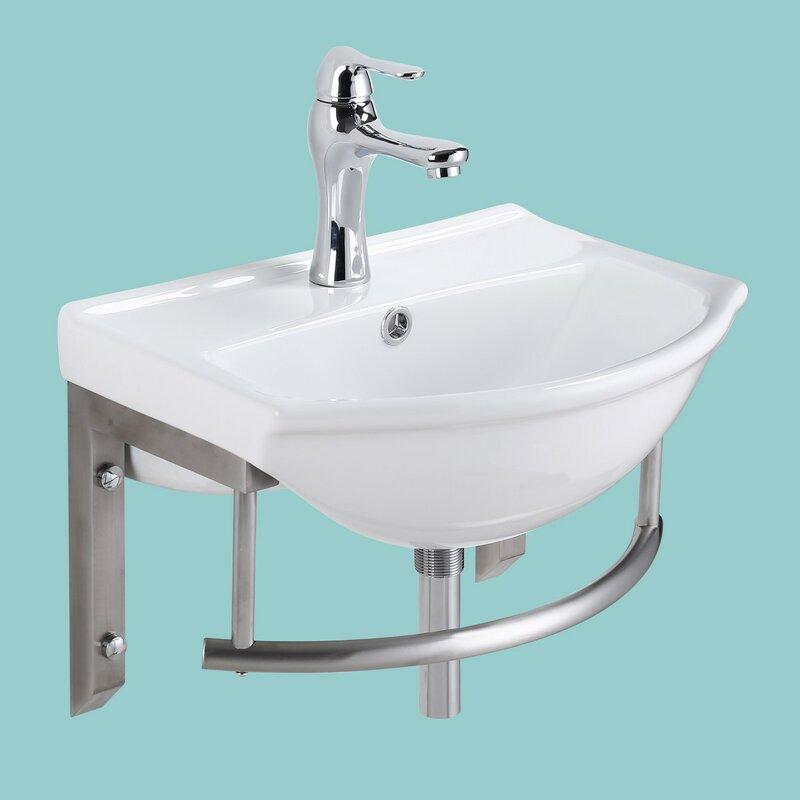 The Renovators Supply Inc Vitreous China 18 Wall Mount Bathroom Sink With Overflow Wayfair