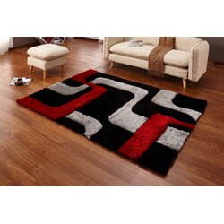 Black And Red Area Rugs casamode functional furniture regina black/red/gray area rug