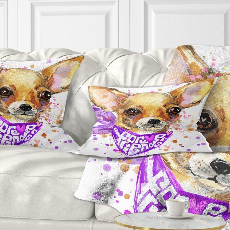 East Urban Home Animal Cute Puppy Dog With Neck Shawl Lumbar Pillow Wayfair