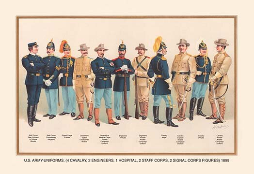 Buyenlarge Uniforms 4 Cavalry 2 Engineers 1 Hospital 2 Staff 2 Signal Corps 1899 By Arthur Wagner Graphic Art Wayfair