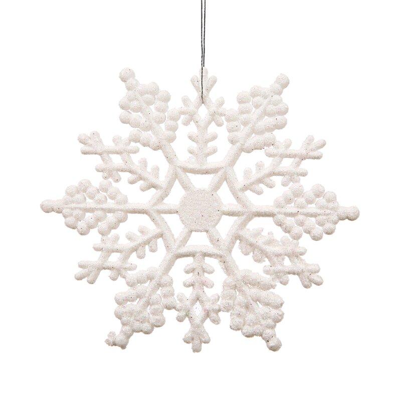 Andover Mills Snowflakes Glitter Christmas Holiday Shaped Ornament Reviews Wayfair