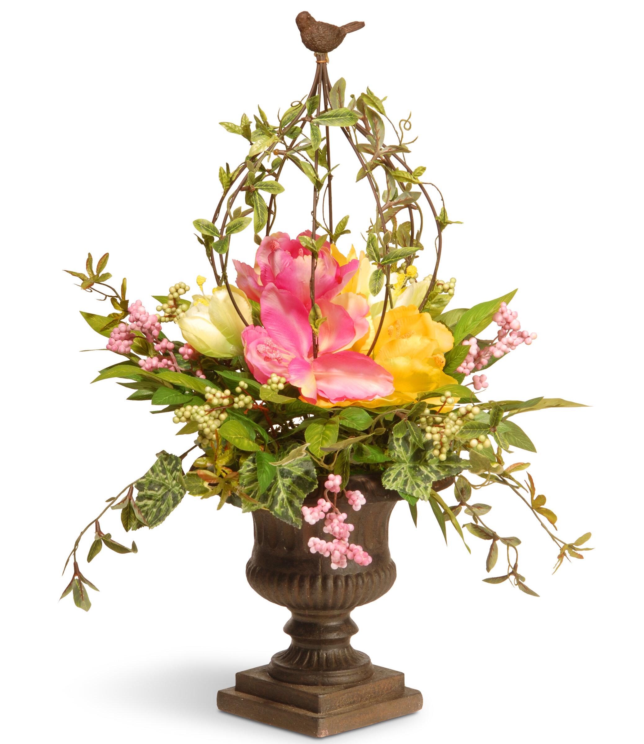 National Tree Co Spring Bird Cage Flower Floral Arrangements