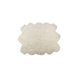 Price comparison Shayne Faux Sheepskin Off White Area Rug By Union Rustic