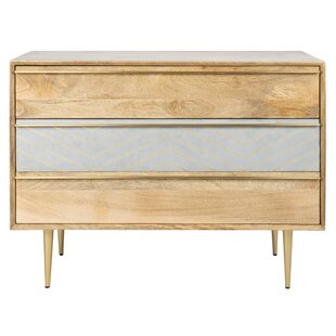 Danise Inlayed Cement 3 Drawer Accent Chest by Union Rustic