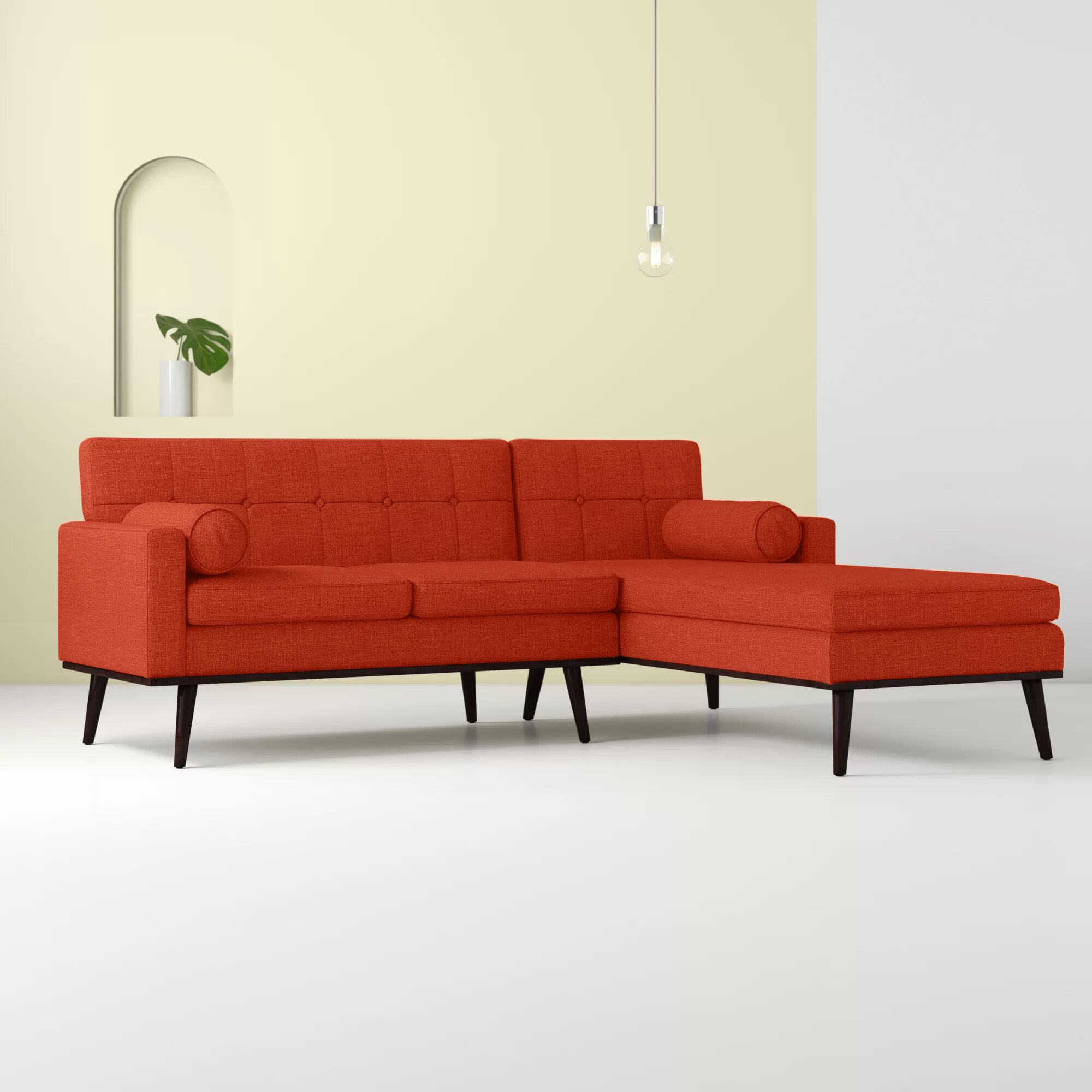 Catalina Right Hand Facing Venus Mid Century Modern Modular Sectional Sofa