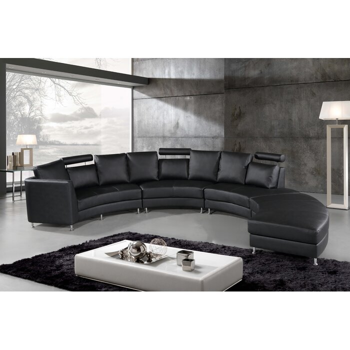 Canizales Symmetrical Leather Symmetrical Sectional with Ottoman