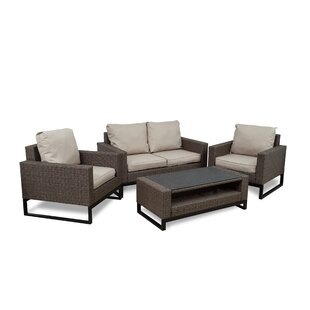 Bawden 4 Piece Rattan Conversation Set with Cushions
