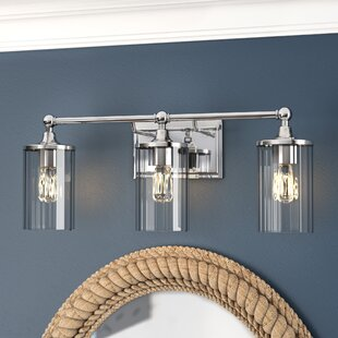 nickel light fixtures pendant hague 3light vanity light with clear ribbed glass bathroom lighting
