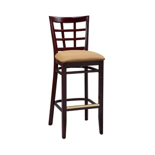 Amoroso Beechwood Lattice Back Upholstered Seat Bar Stool Red Barrel Studio