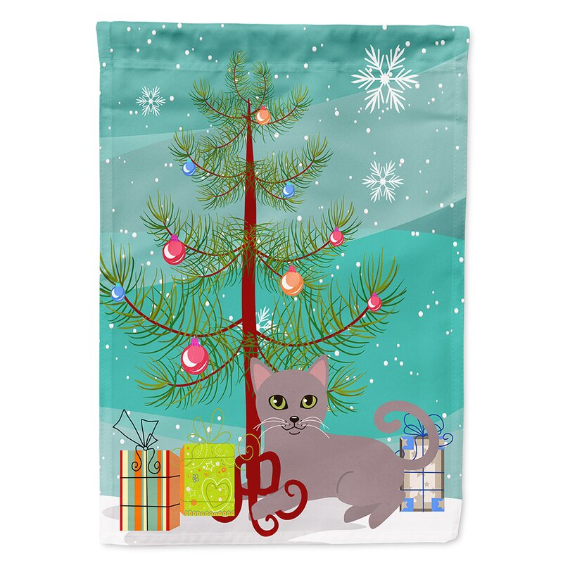 Merry Christmas In Russian.Russian Cat Merry Christmas Tree 2 Sided Polyester 3 4 X 2 4 House Flag