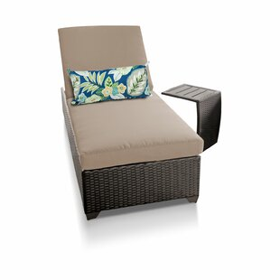 Classic Reclining Chaise Lounge with Cushion and Table