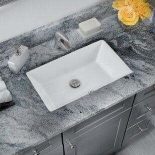 Comparison Glazed Vitreous China Rectangular Undermount Bathroom Sink with Overflow By Cahaba