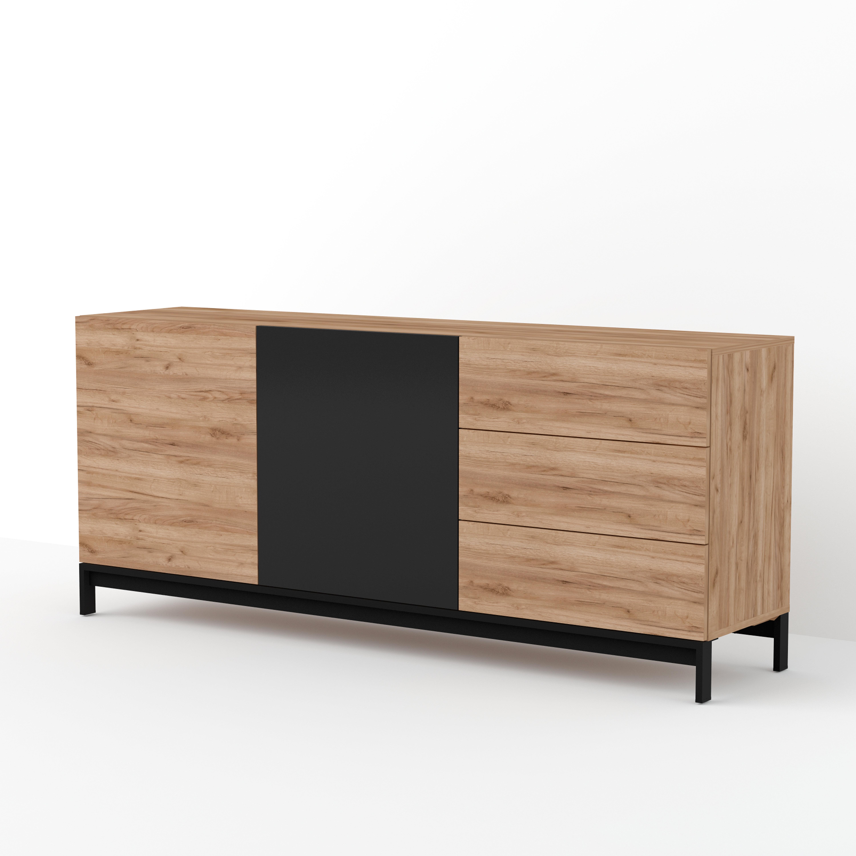 Panneau Melamine Noir Mat mishel 3 drawers 2 cabinets sideboard