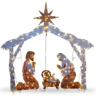 crystal nativity christmas decoration
