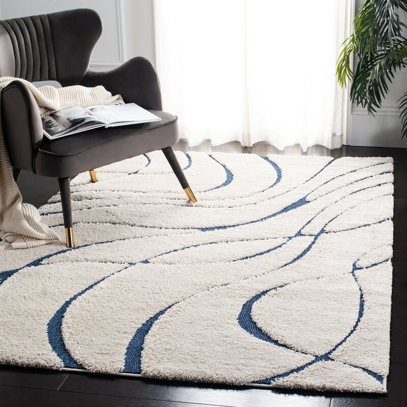 Stacie Cotton Navy Blue Ivory Area Rug