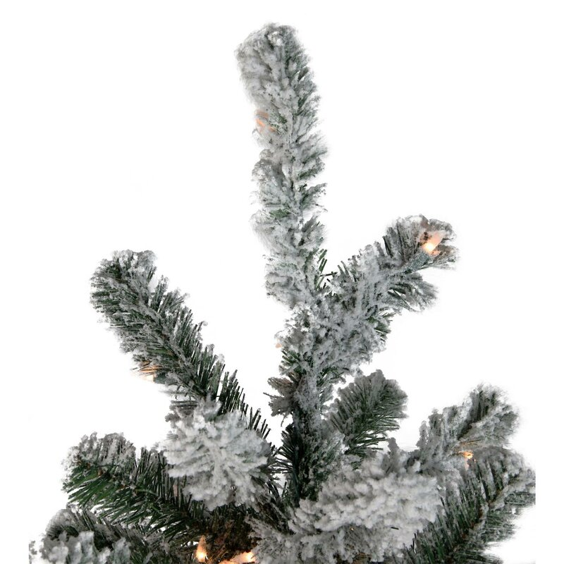 dda13e4491ba Pre-Lit Flocked 7.5  Natural Emerald Pine Artificial Christmas Tree with  800 Warm Clear