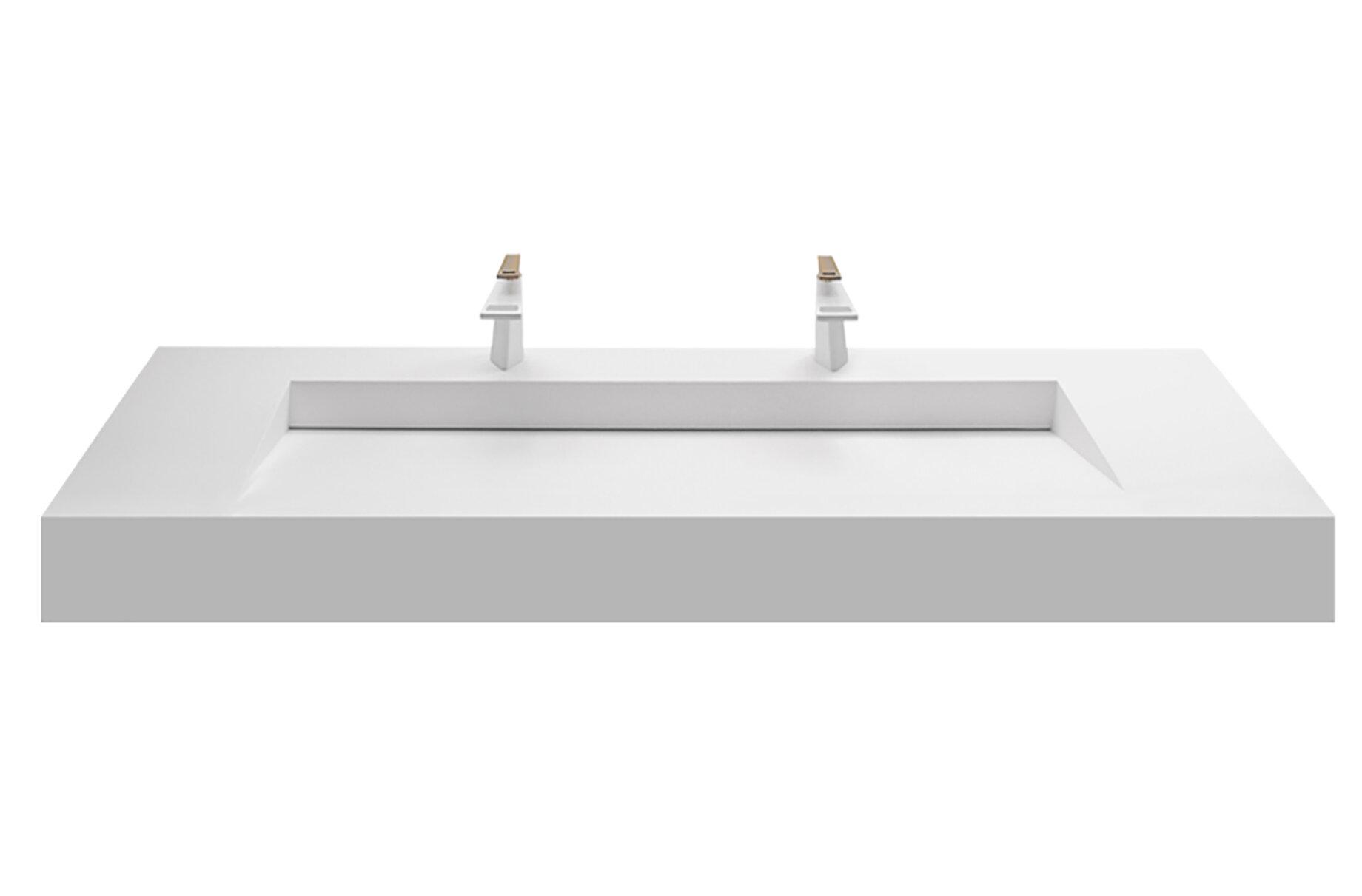 Orren Ellis Boyter Stone Rectangular Wall Mount Bathroom Sink 2 X Faucet Holes 60 L X 19 W Reviews Wayfair