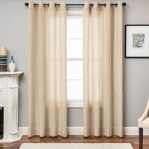Paulette Striped Sheer Grommet Single Curtain Panel